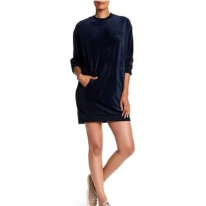 MAX STUDIO Black Velour Sweatshirt Dress XS